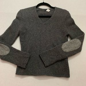 J.Crew Grey V-Neck Elbow Patch Lambs Wool Sweater